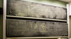 This is one of the underground classrooms in the math building at Vanderbilt. It was renovated a couple of years ago. The chalkboards weren't replaced by white boards, as is popular these days. The Vanderbilt math faculty (including me) are very fond of our chalkboards!