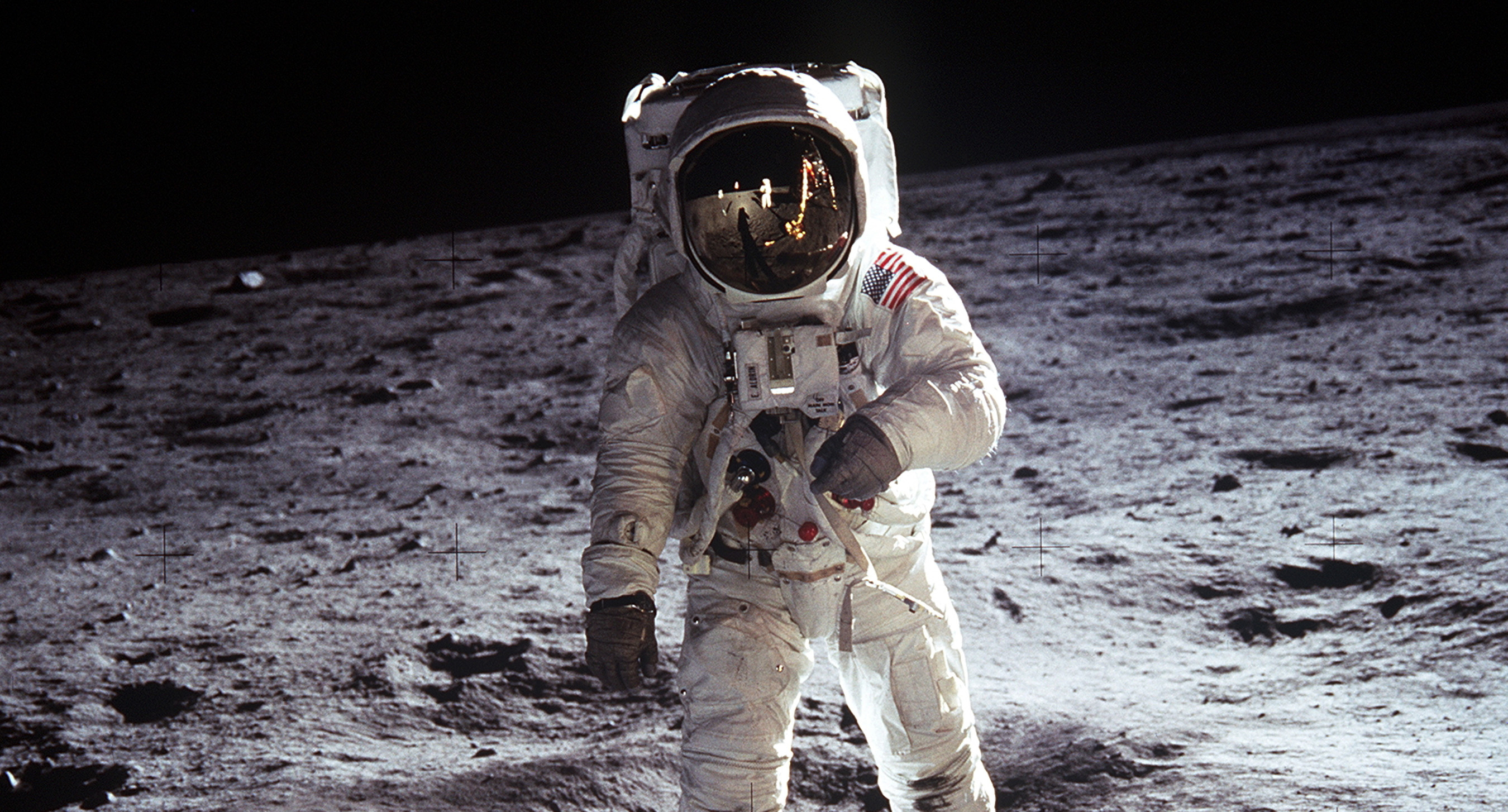 Buzz Aldrin walking on the Moon, on Apollo 11, July 20–21, 1969. <i>By NASA, via Wikimedia Commons</i>