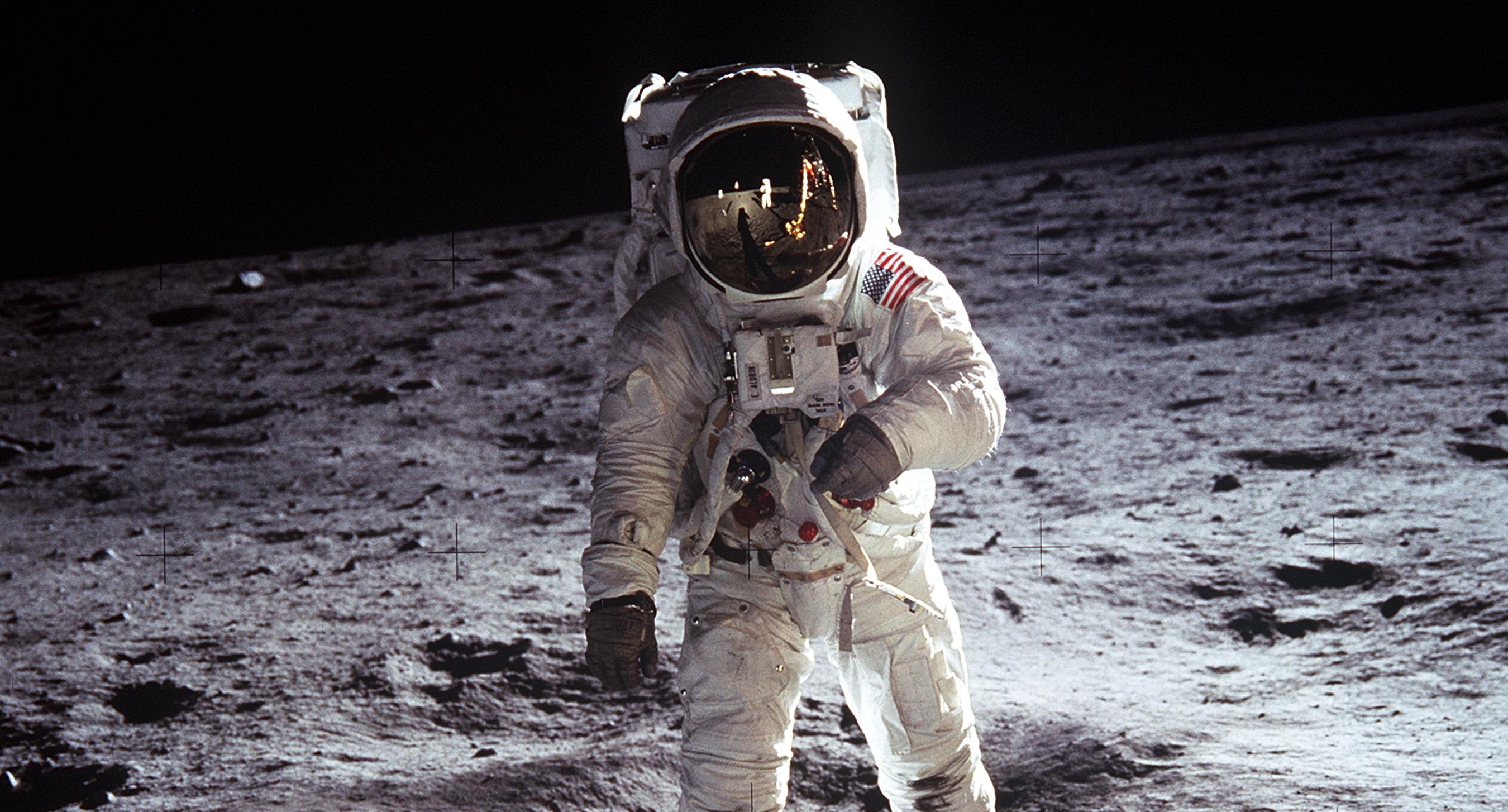 Buzz Aldrin walking on the Moon, on Apollo 11, July 20–21, 1969. <i>By NASA, via Wikimedia Commons</i>