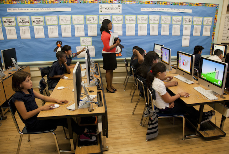 Students practice their mathematics skills at Ritter Elementary School in Los Angeles.