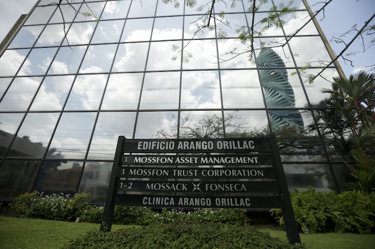 A marquee of the Arango Orillac Building lists the Mossack Fonseca law firm in Panama City, Monday, April 4, 2016. Leaked data from the Panama-based law firm revealed how political and financial elites across the world have used shell corporations to illegally hide their money.
