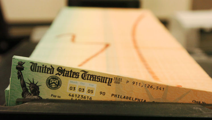 In this February 11, 2005 file photo, printed Social Security checks wait to be mailed from the U.S. Treasury's Financial Management services facility in Philadelphia.