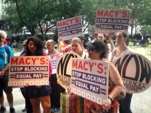Ultraviolet members protest Macy's lobbying against an equal pay bill. They're asking the retail giant to pledge to never lobby against equal pay again. Photo Credit: Melissa Byrne