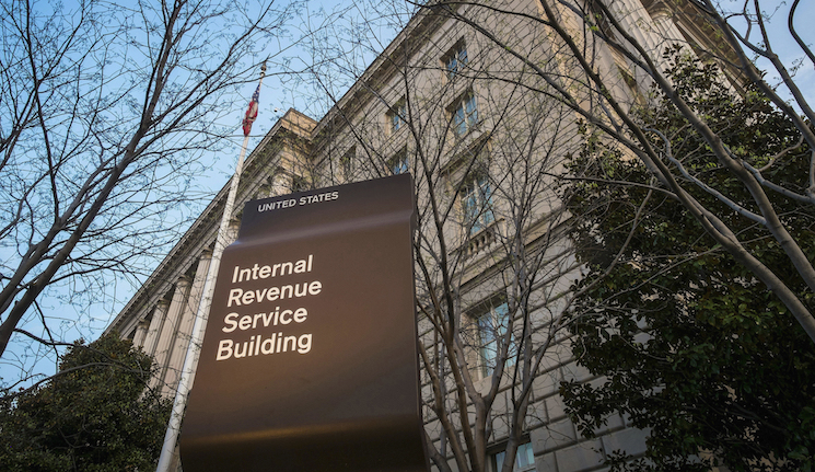 Photo of the Internal Revenue Service (IRS) headquarters building in Washington.