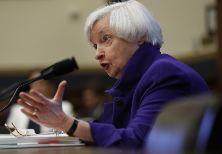 Federal Reserve Board Chair Janet Yellen testifying at the House Financial Services Committee hearing on Capitol Hill.