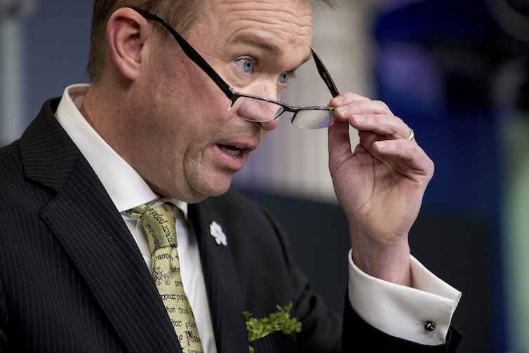 Budget Director Mick Mulvaney speaks during a daily press briefing at the White House.