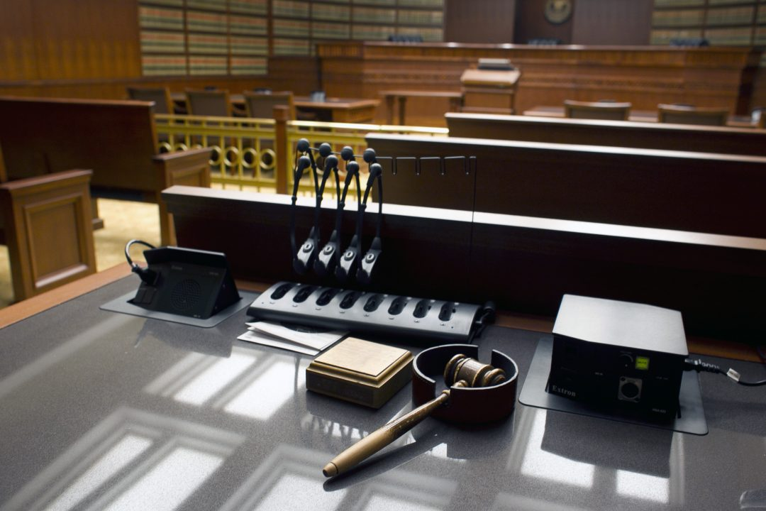 A gavel sits on a desk inside a court of appeals in Colorado, January 2013.