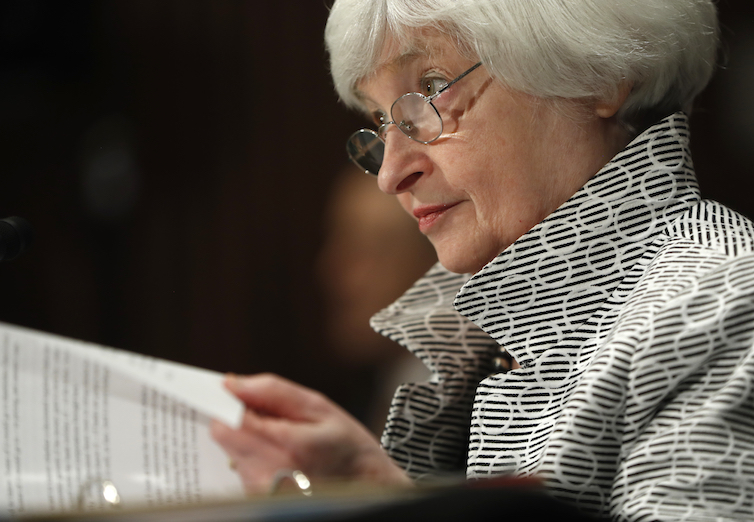 Federal Reserve Chair Janet Yellen testifies on Capitol Hill before the Senate Banking Committee.