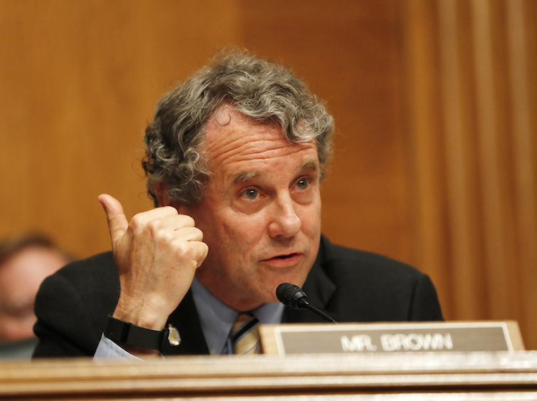Sen. Sherrod Brown, D-Ohio, co-sponsor of the GAIN Act, speaks on Capitol Hill in Washington.