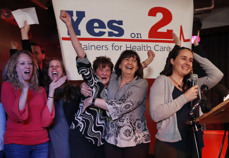 Supporters of Medicaid expansion celebrate their victory, in Portland, Maine. Voters decided they wanted Maine to expand Medicaid to some 70,000 citizens in a public referendum in November 2017.